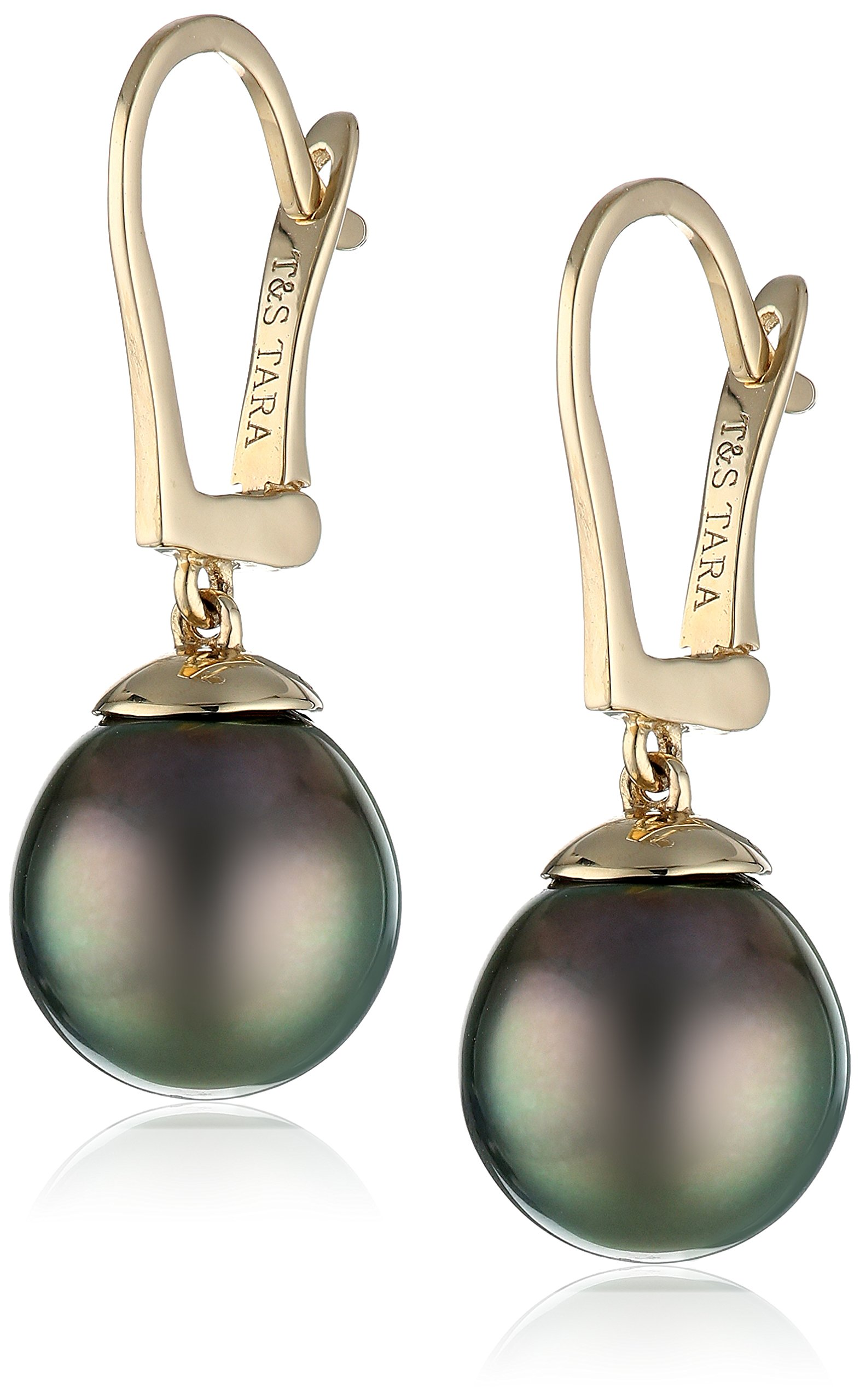 14k Yellow Gold Natural Color AA Quality Tahitian Cultured Pearl Leverback Earrings (9-10mm)