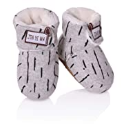 RONGBLUE Newborn Infant Baby Girls Boys Slippers Super Soft Warm Fleece Booties Crib Shoes with Grippers for 0-18 Month (Small / 0-6 Month, Gray)