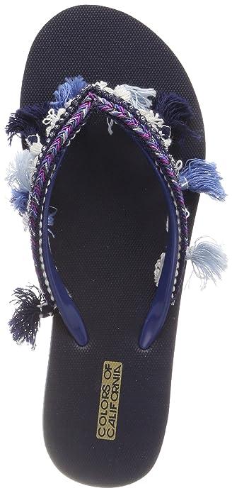 Colors of California Damen Eva Flip Flop with Tassel Accessorizes Zehentrenner, Blau (Navy), 39 EU