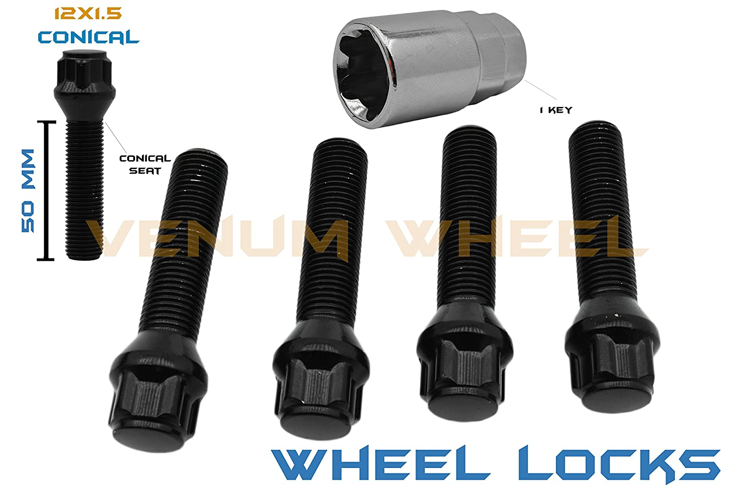 BMW 12x1.5 Wheel Locks Locking Lug Bolts Black 50mm Shank Length W/Key Included VENUM WHEEL ACCESSORIES