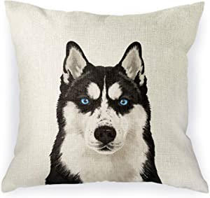 WIRESTER Sofa Pillow Case, Decorative Throw Pillow Cushion Cover for Home Office 18 x 18 Inch, Cute Siberian Husky Dog
