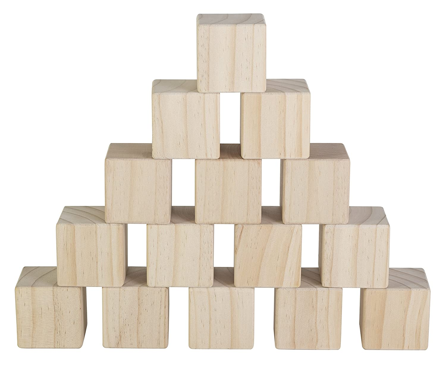 Set of 15 Large Wooden Blocks - 2 Inch Natural Wood Square Cubes - with Sanded Smooth Surface for Photo Blocks, Crafts, Art Supplies, Puzzle Projects and More - Great Toys for Kids & Child Ader Marketing