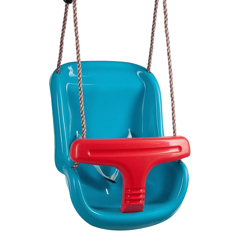 Ultrakidz Siège de balançoire pour bébé Basic avec un arceau de protection et une ceinture, balançoire pour bébé, siège de balançoire pour bébé en plastique, corde de suspension incluse, résistant aux intempéries, Pourpre/Bleu 331900000167