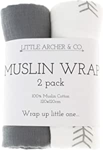 Little Archer & Co.™ 2 Pack 100% Organic Cotton Muslin Wraps, Gentle Against Sensitive Skin, Perfect for Swaddling Baby (Grey)