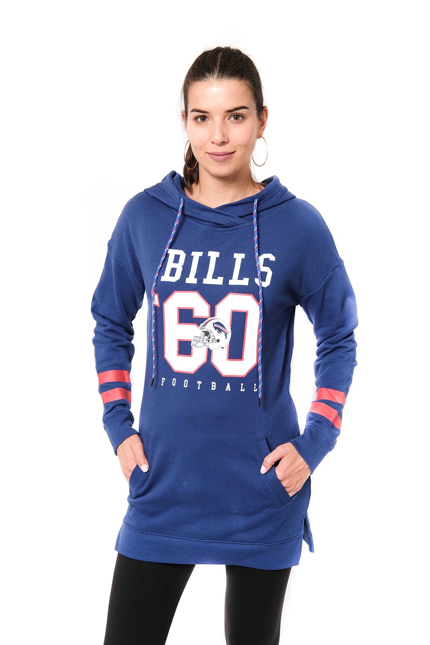 Ultra Game NFL Buffalo Bills Women's Tunic Hoodie Pullover Sweatshirt Terry, Team Color, Royal, Small