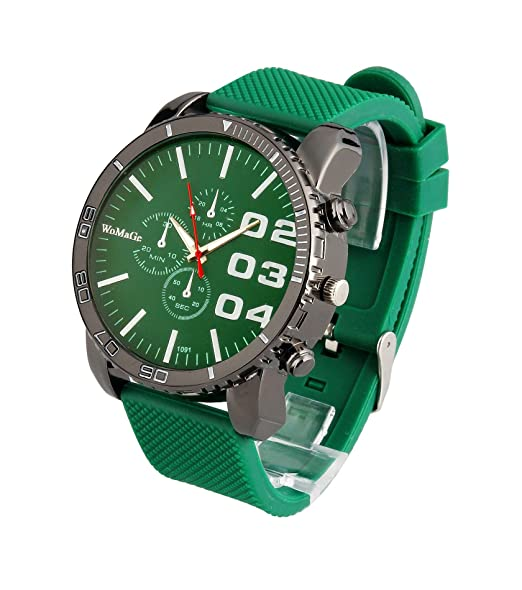 Amazon.com: ShoppeWatch Mens Large Face Watch Unisex Silicone Band Reloj Para Hombre Green Dial SW1091GR: Watches