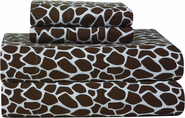 Pointehaven Heavy Weight Printed Flannel Sheet Set, Twin, Giraffe Chocolate