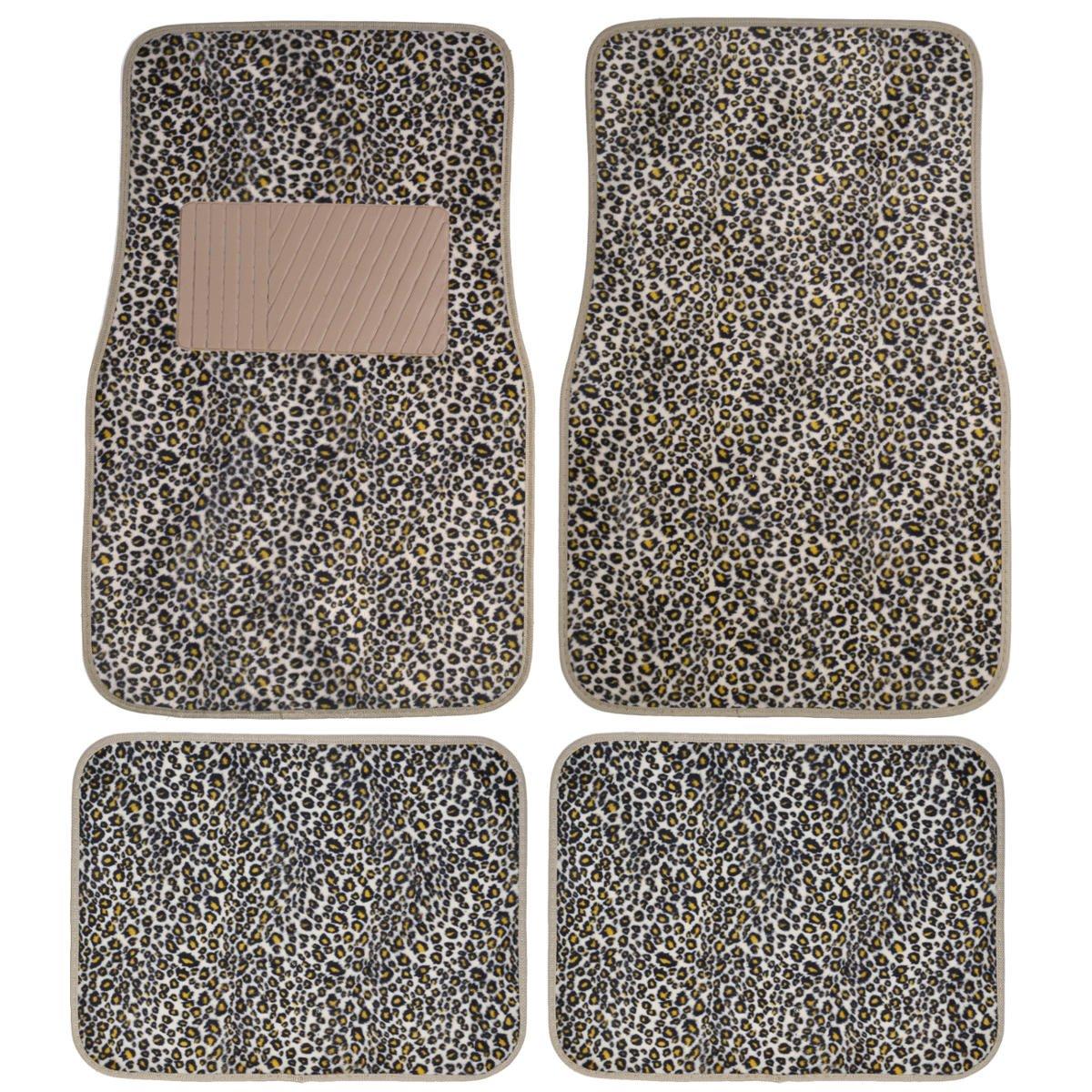 BDK Universal Fit 4-Piece Safari Animal Print Carpeted Mat - (Cheetah) MT-902-CT