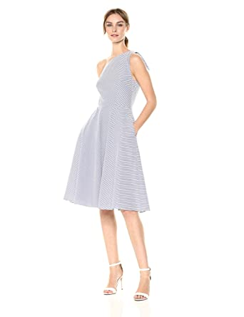 9a427c70 Adrianna Papell Women's Cotton Stripe One Shoulder Dress at Amazon Women's  Clothing store: