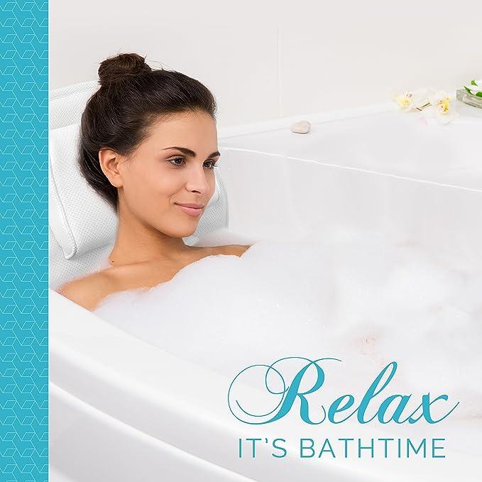 Full Body Spa baño colchón almohada - suave acolchado para bañera (con transpirable 3d malla capas - comodidad cabeza resto - antideslizante con ventosas ...