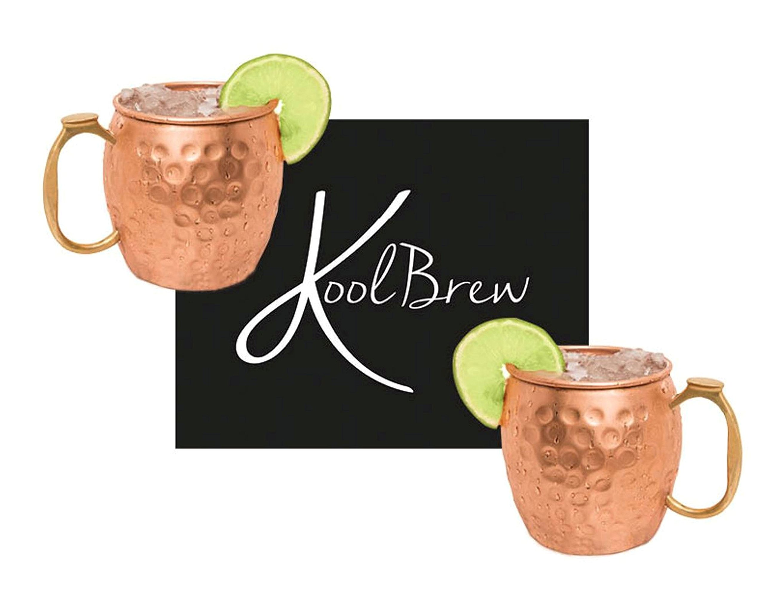 KoolBrew Moscow Mule Copper Mugs – Gift Set of 2, 100% Solid Handcrafted Copper Cups – 16 Ounce Food Safe Hammered Mug…