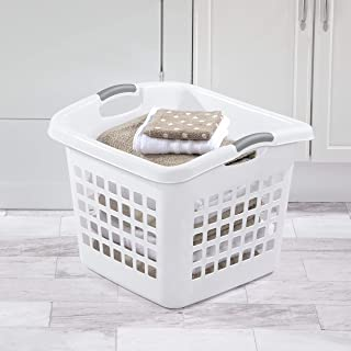 product image for Sterilite 12078006 1.75 Bushel/62 Liter Ultra Square Laundry Basket, White Basket w/Titanium Inserts, 6-Pack