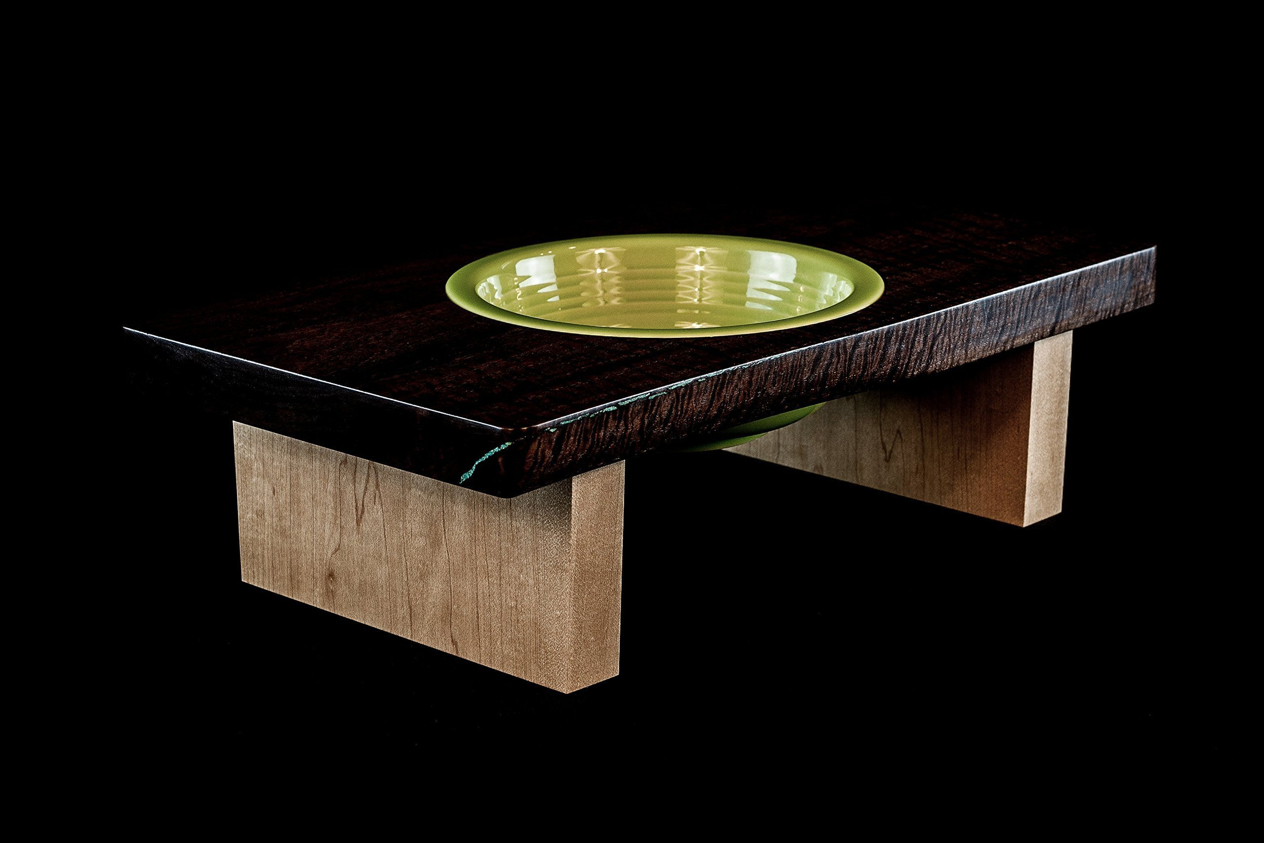 Live Edge Curly Black Walnut Elevated Large Size Dog Feeding Stand with Maple Legs and Ceramic Bowl