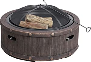 Sun Joe SJFP35-STN-RWD 35-in. Cast Stone Base, Wood Burning Fire Pit w/Dome Screen and Poker, Rivetted Wood