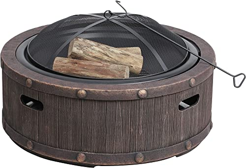 Sun Joe SJFP35-STN-RWD 35-in. Cast Stone Base, Wood Burning Fire Pit w Dome Screen and Poker, Rivetted Wood