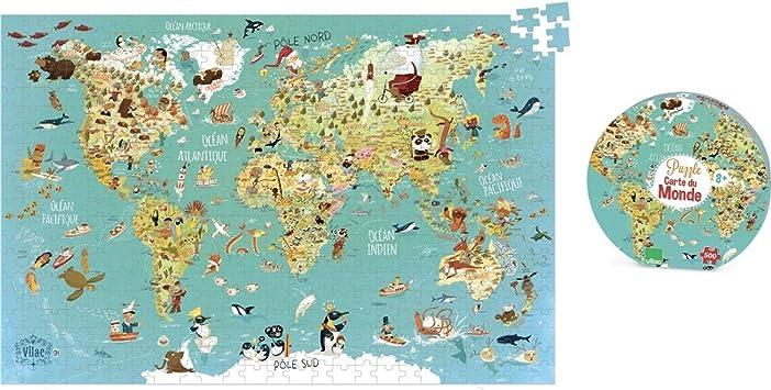 Vilac - Puzzle Mapa del Mudo Fantástico (2722): Amazon.es: Juguetes y juegos