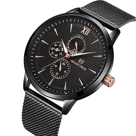 Reloj de pulsera analógico de cuarzo de malla de acero inoxidable para hombre, resistente al