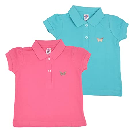 abe8e40ff Zero Baby Girls Polo Tshirt (Pack of 2) | 100% Premium Cotton | Ideal for  Winter and Summer | Size: 3-6 Months: Amazon.in: Baby