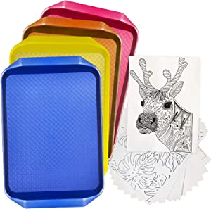 Set of 4 Kids Arts and Crafts Extra-Large Plastic Trays in Blue, Yellow, Pink and Orange Colors. Free Coloring Sheets included!