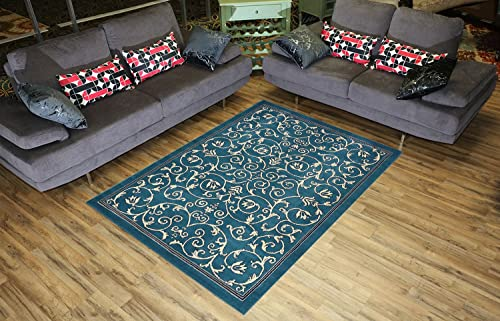 Conur Collection Floral Scroll Area Rug Rugs Modern Contemporary Traditional Area Rug Rugs Veronica 3 Color Options Petrol Blue