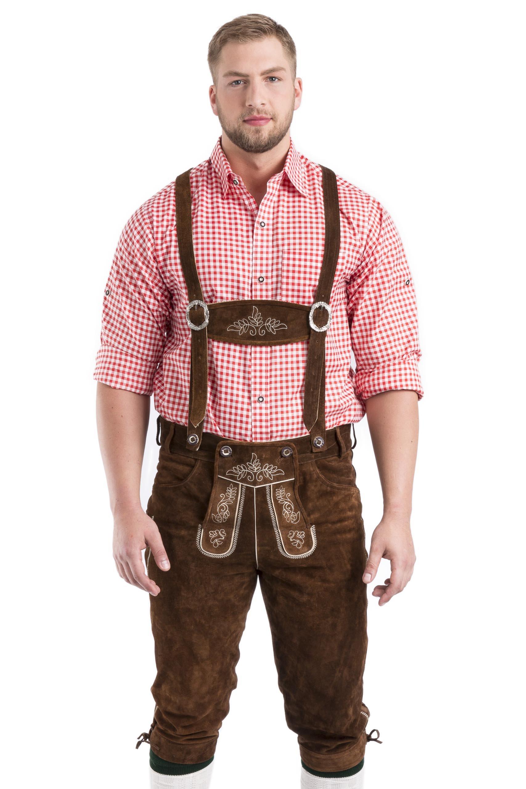 Men's German Oktoberfest Lederhosen - Knee Breeches Leather Trouser
