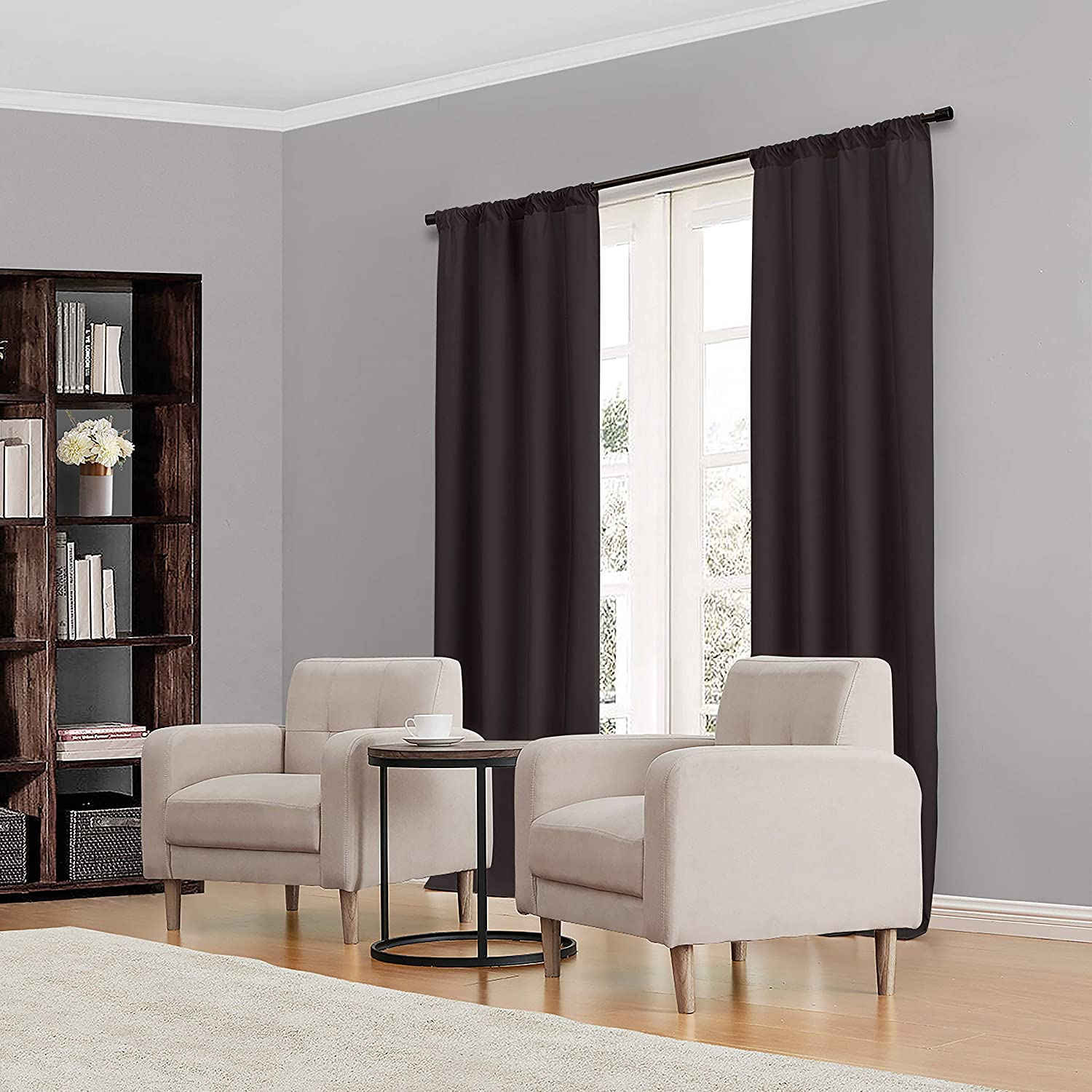 """ECLIPSE Kendall Solid Blackout Window Curtains for Bedroom (Single Panel), 42"""" x 63"""", Black"""