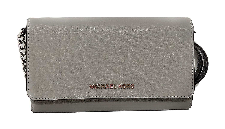 2595f83f32d7 Amazon.com: Michael Kor Jet Set Large Phone Crossbody Wallet Pearl Grey  Saffiano: Clothing