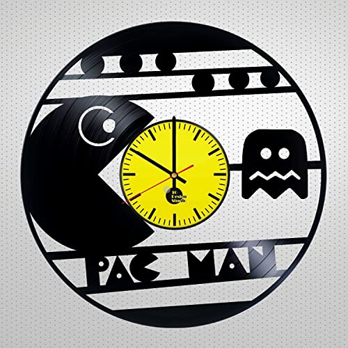 Amazon.com: Pac-Man game Design Vinyl Wall Clock – handmade gift for ...