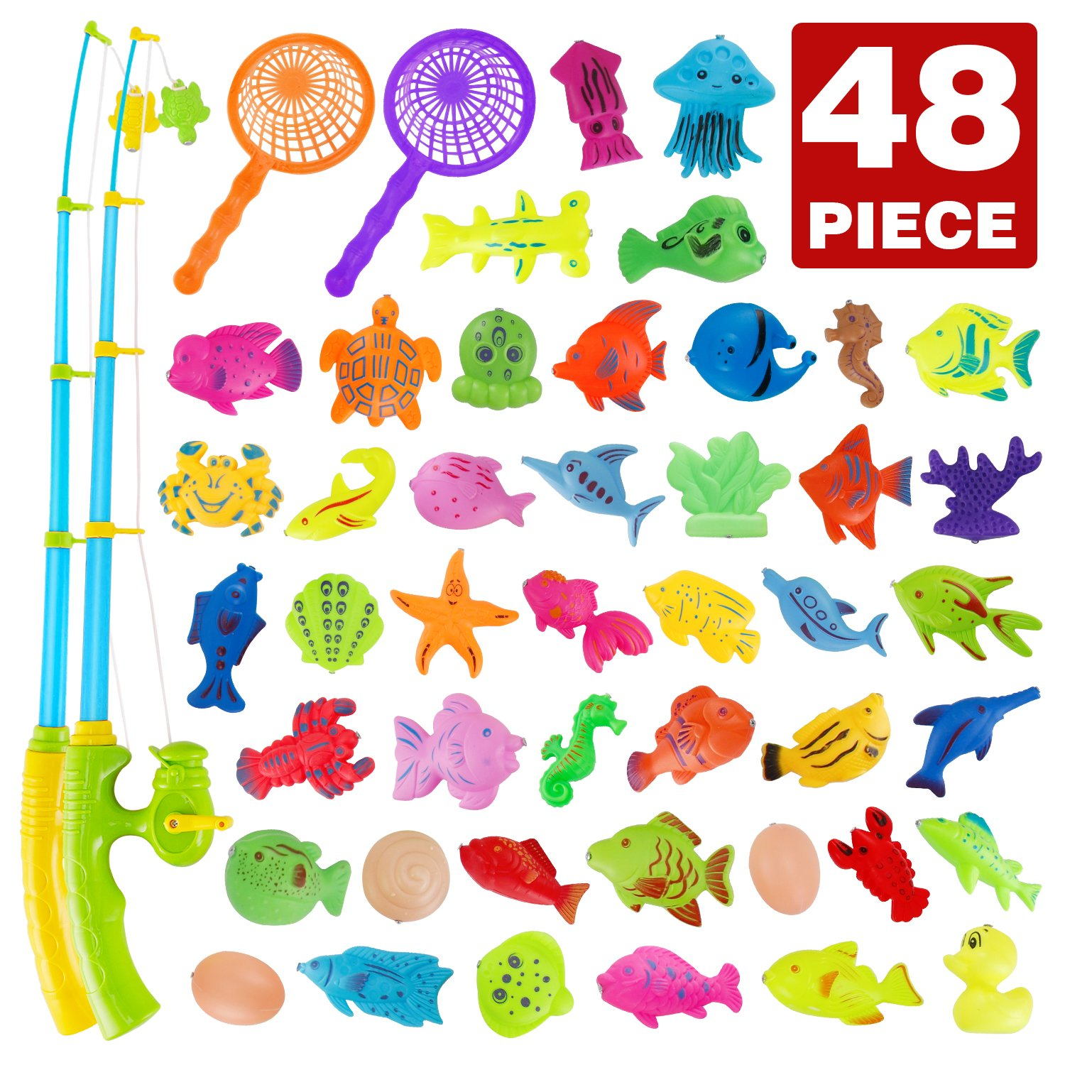 Fishing Bath Toy, 48 Piece Magnetic Fishing Floating Toy, Water Scoop Fish Net Game in Bathtub Bathroom Pool Bath Time, Learning Education Toys For Boys Girls Toddlers Party Favors Nasidear