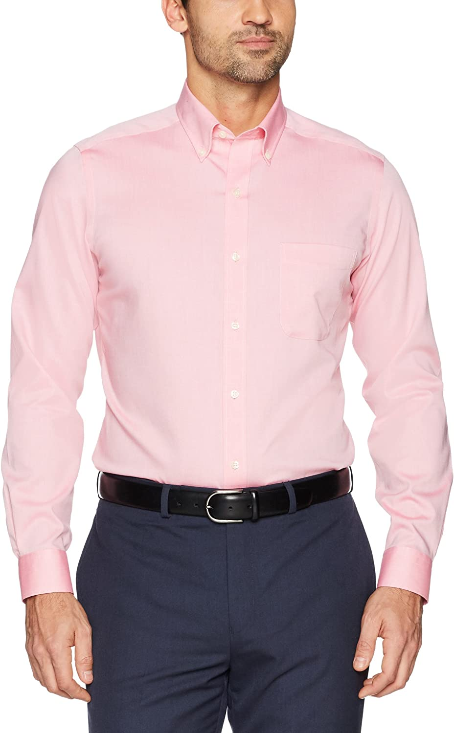 Brand Pink Buttoned Down Mens Tailored-Fit Button Collar Pinpoint Non-Iron Dress Shirt 15 Neck 31 Sleeve