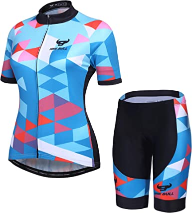 Women Cycling Jersey Pants Set MTB Bike Bicycle Clothing Shirt Padded Pants Suit