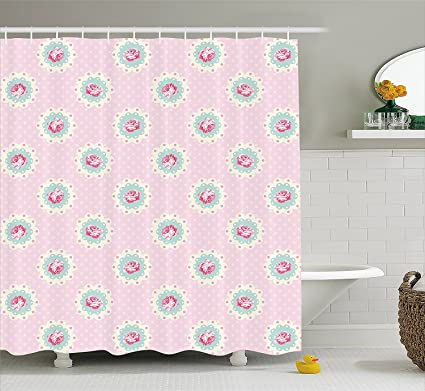 Amazon.com: Mirryderr Shabby Chic Decor Shower Curtain, Retro Polka ...