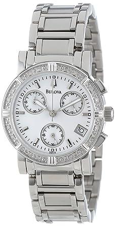 Amazon.com: Bulova Women's 96R19 Diamond-Studded Chronograph Watch ...
