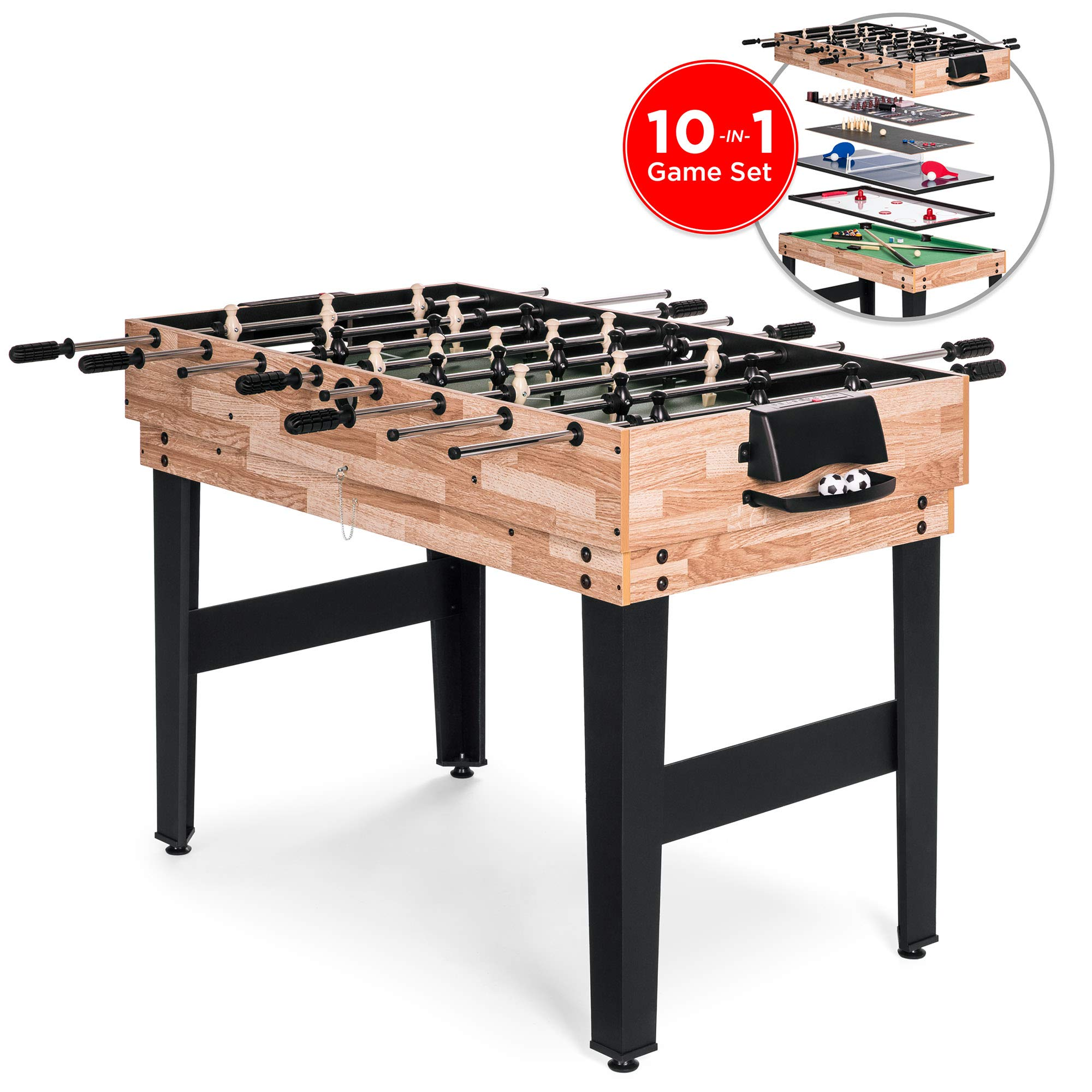 Best Choice Products 10-in-1 Game Table w/Foosball, Pool, Shuffleboard, Ping Pong, Hockey, and More by Best Choice Products