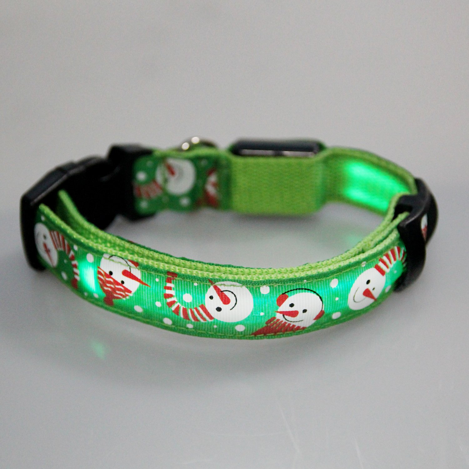 Itery LED Dog Pet Collars Flashing Light up Pets Collar Size Adjustable Christmas Snowman Pattern (Green Snowman)