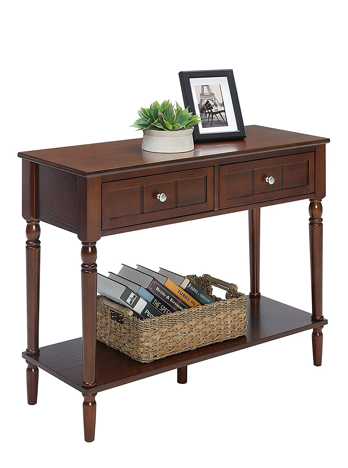 Convenience Concepts 6050419ES French Country Two-Drawer Hall Table Espresso