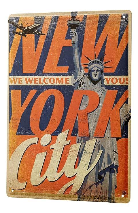 Amazon.com: Cartel de chapa Deco Ciudad Ciudad de Nueva York ...
