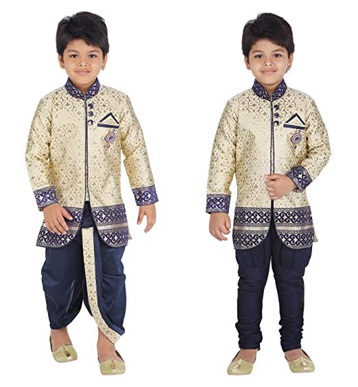 34b7d4ba KLAUD ZEE Kids Ethnic Indo-Western Kurta Waistcoat and Dhoti Pant for  Boys_NVY455-0