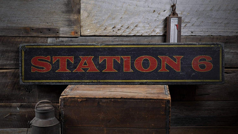Ced454sy - Señal de madera, diseño de estación de bomberos, estación de bomberos, regalo personalizado para estación de bomberos, decoración de chimeneas, regalo vintage