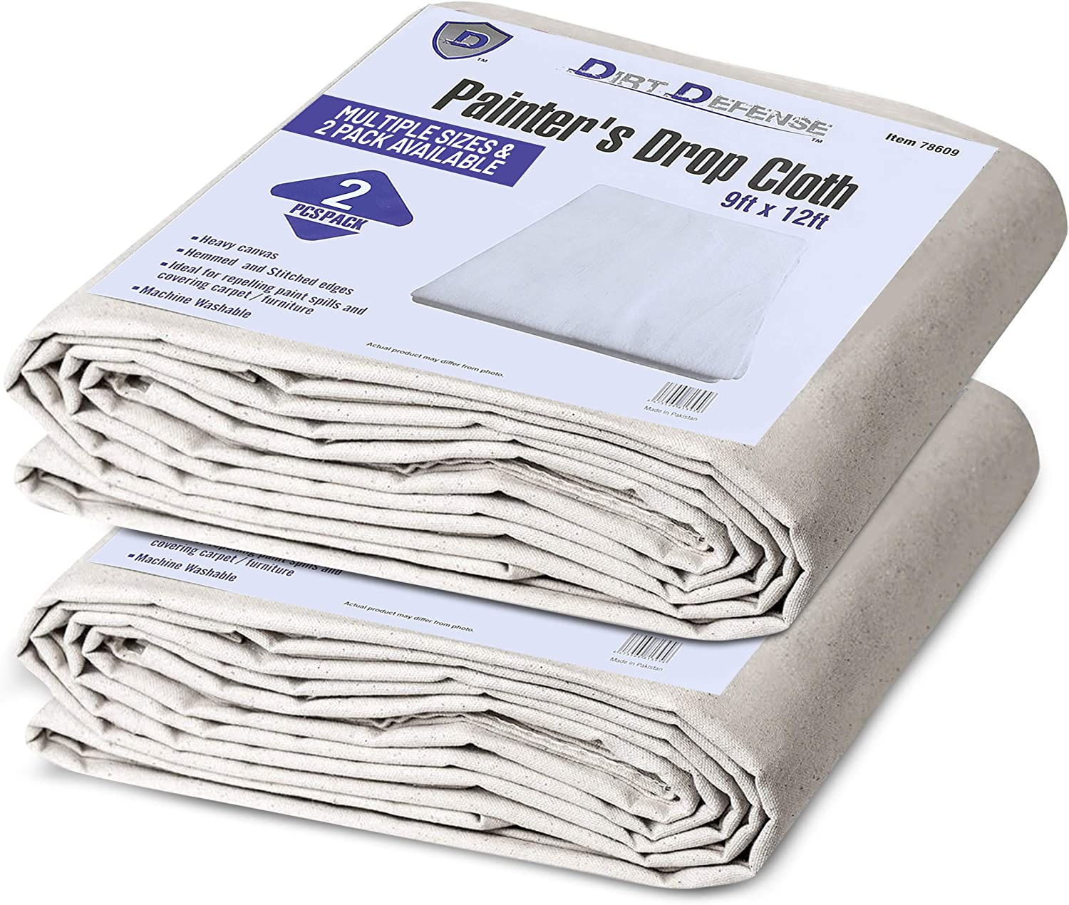 **Twin Pack** Plastic Backed 2 X Economy Laminated Cotton Dust Sheet 12 x 9