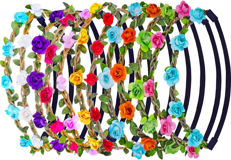 12 Pieces Couronnes De Fleurs Pour Femme Et Fille Avec Ruban Elastique Amazon Fr Beaute Et Parfum