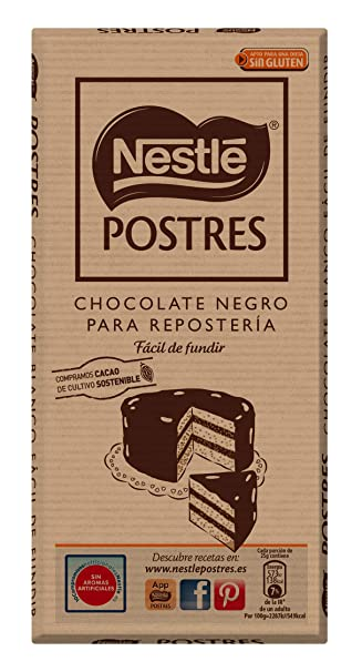 Nestlé POSTRES Chocolate negro para fundir - Tableta de chocolate para repostería 16x250g