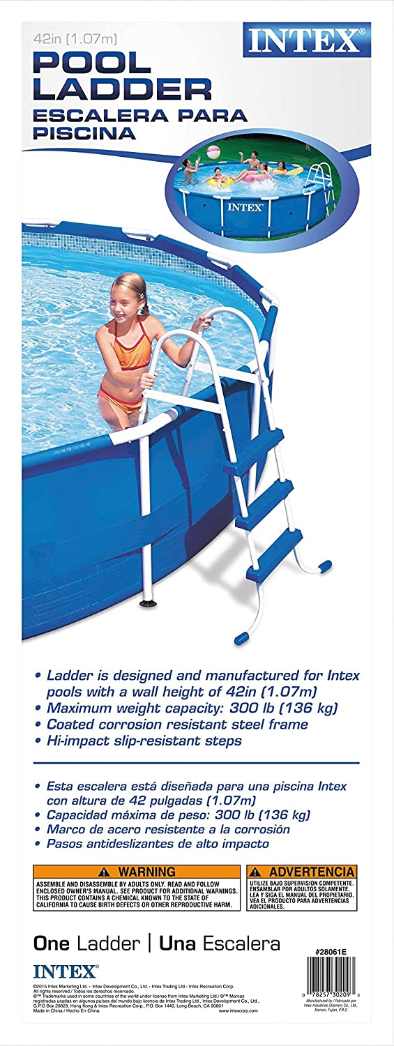 Amazon.com : Intex Pool Ladder for 42-Inch Wall Height Above Ground ...