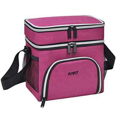 Kato Insulated Lunch Bag for Women & Girls, Leakproof Bento Cooler Lunch Box Tote, Dual Compartment Thermal Lunch Bag with Shoulder Strap, Oxford Cloth, Pink