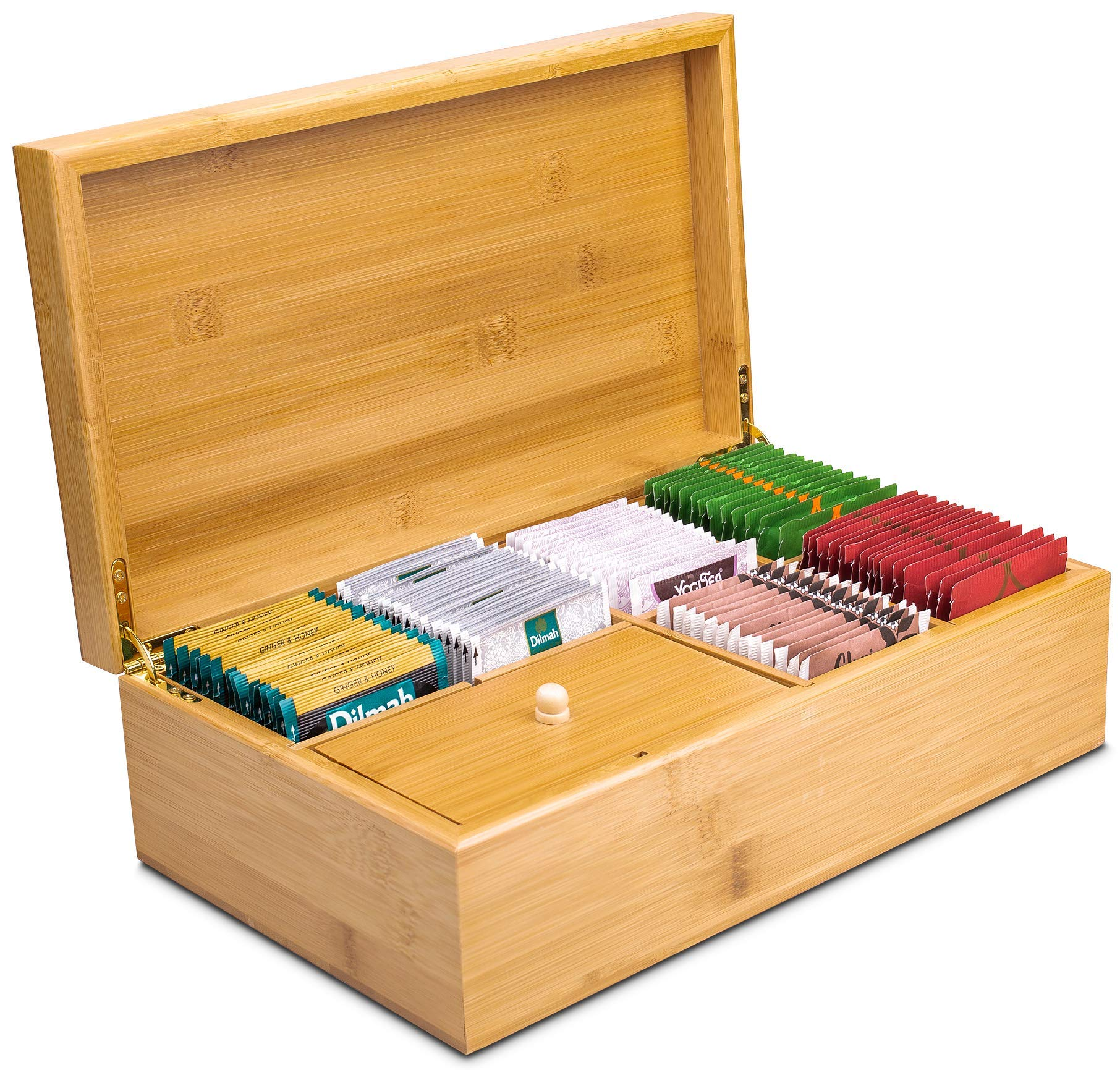 Lyevon Tea Storage Organizer Bamboo Chest Box with 8 Adjustable Compartments for Assorted Tea Bags or Spices -holds 125 Tea Bags by Lyevon (Image #4)