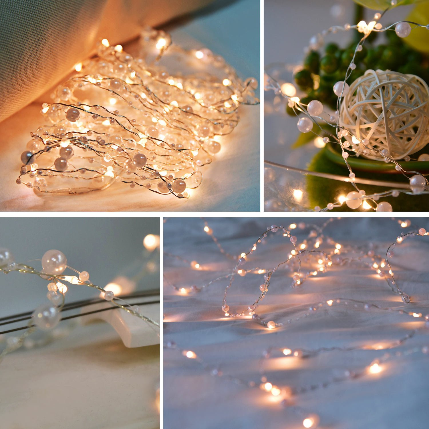ENGIVE LED Fairy String Lights,19.7Ft/6M 60leds Pearl String Lights Christmas Garden Home Party Festival Decorations Crafting Battery Operated Lights(Warm White) by ENGIVE (Image #1)