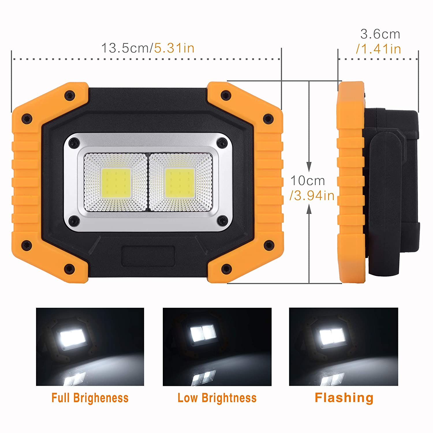 1 Pack Rechargeable Portable Waterproof LED Flood Lights for Outdoor Camping Hiking Emergency Car Repairing and Job Site Lighting OTYTY 2 COB 30W 1500LM LED Work Light