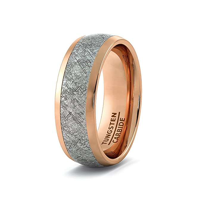 Mens Wedding Band 8mm Rose Gold Tungsten Ring With Imitation Meteorite Texture Dome Comfort Fit