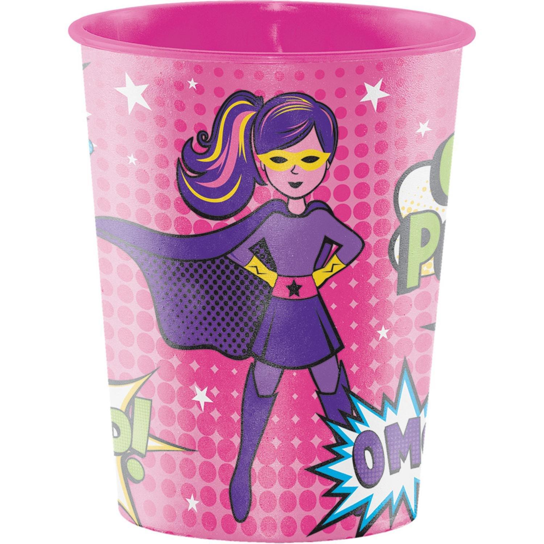 Club Pack of 12 Vibrant Colors Girl Superhero Themed Keepsake Cups 4.5''