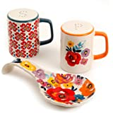 The Pioneer Woman Flea Market Stoneware Floral Spoon Rest & Salt And Pepper Set (1)